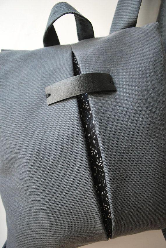 Minimal college backpack Cool messenger bag Gray waterproof canvas ... 72ebe9ea6d1b1