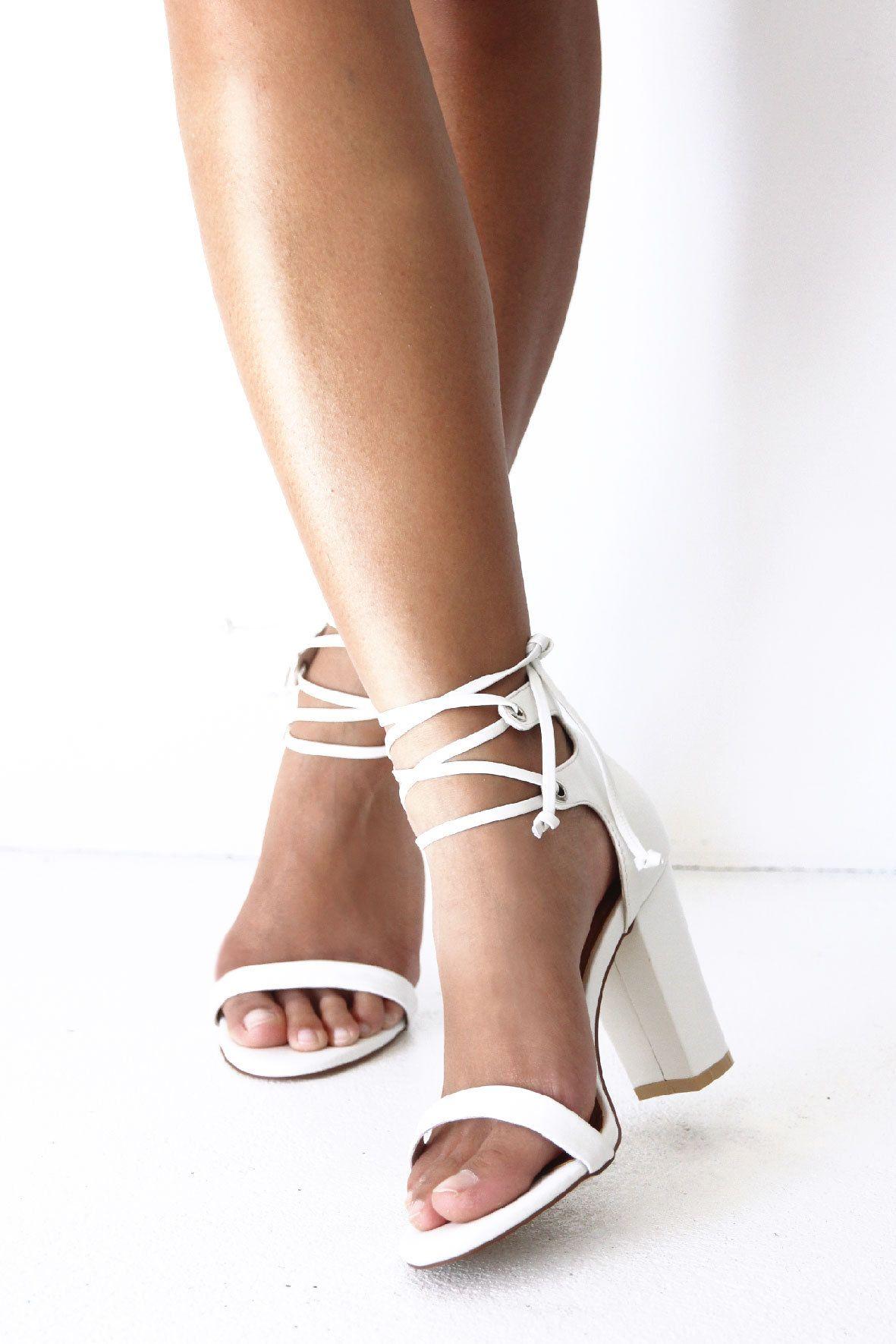 56f0a753548 Ladies Ivory Leather Block Heels