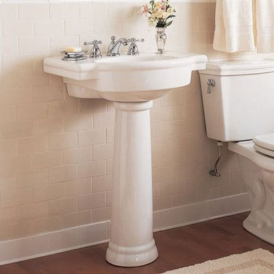 Retrospect Ceramic 27 Pedestal Bathroom Sink With Overflow