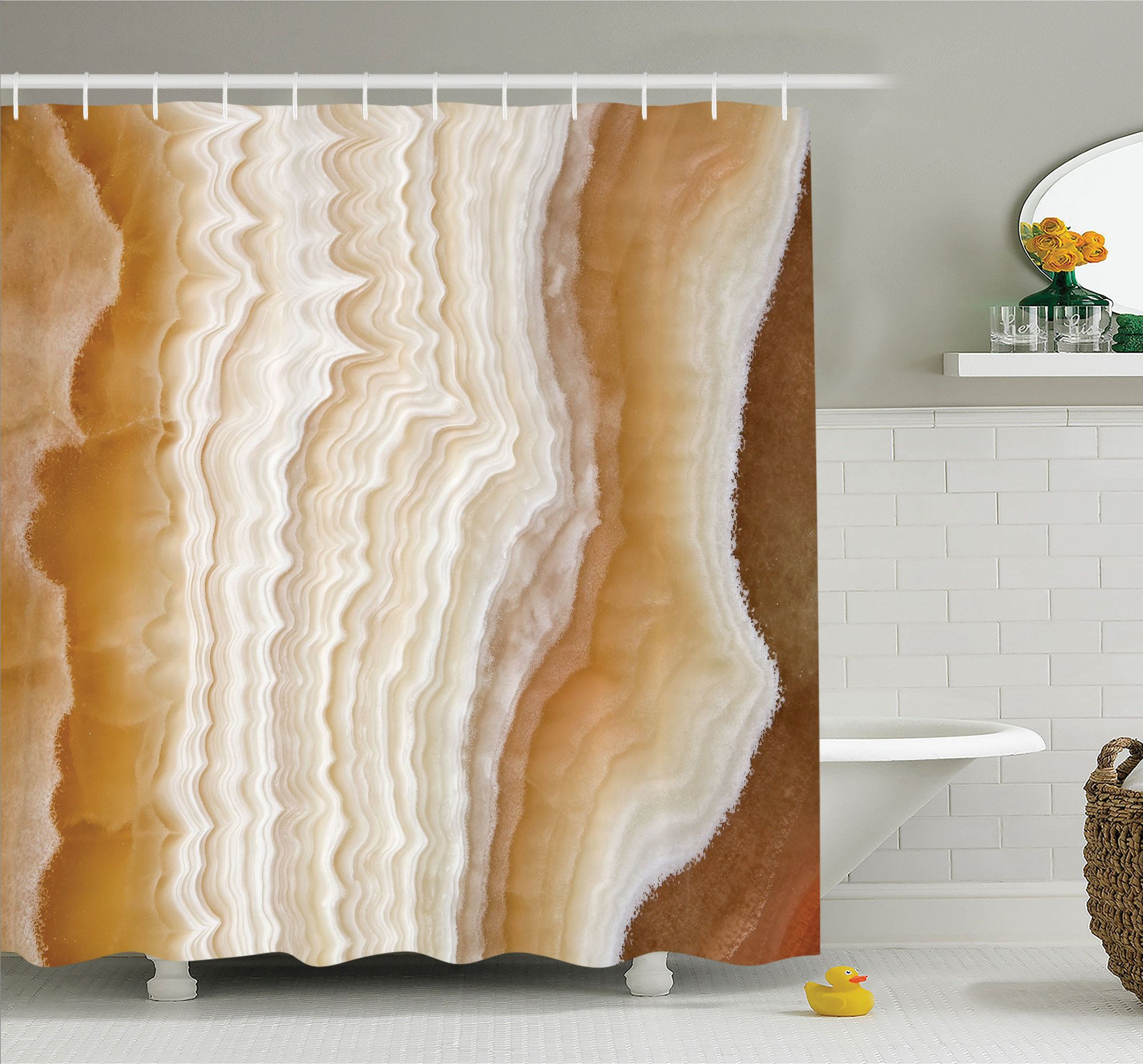 Apartment Odd Wavy Marble Pattern With New Lines And Shapes Digital Nature Computer Art Shower Curtain Set