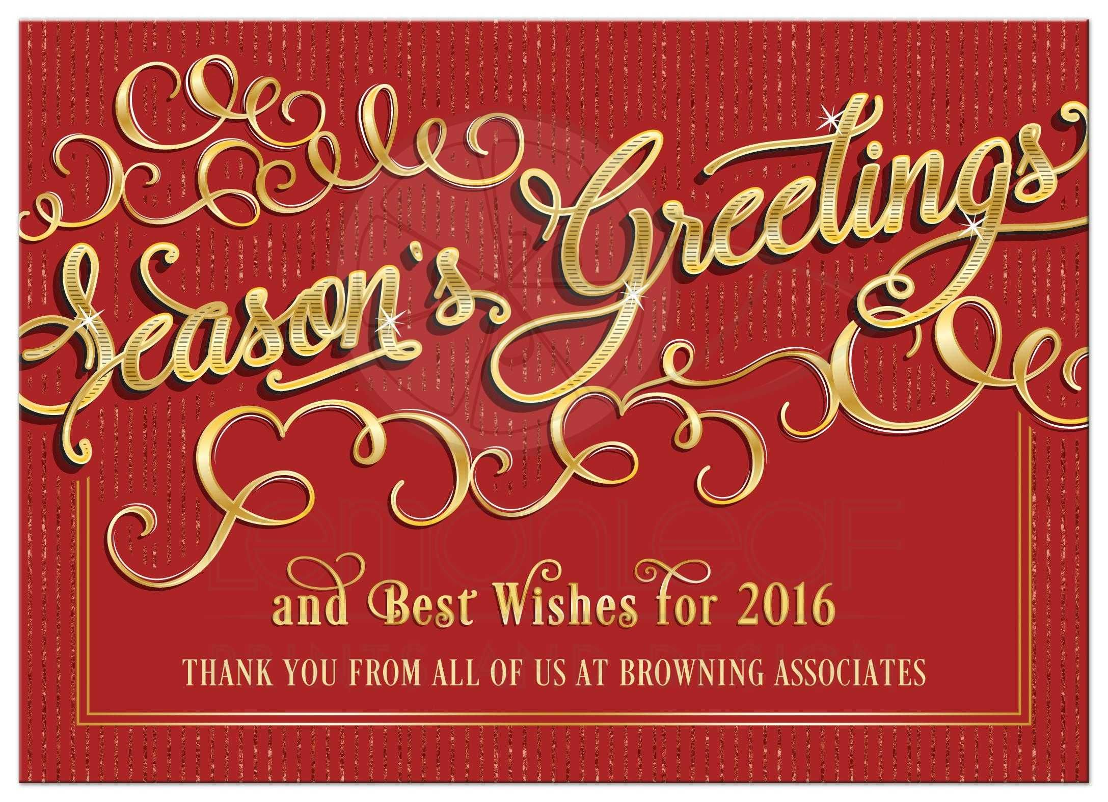 Business Holiday Card   Elegant Season\'s Greetings Red Gold ...