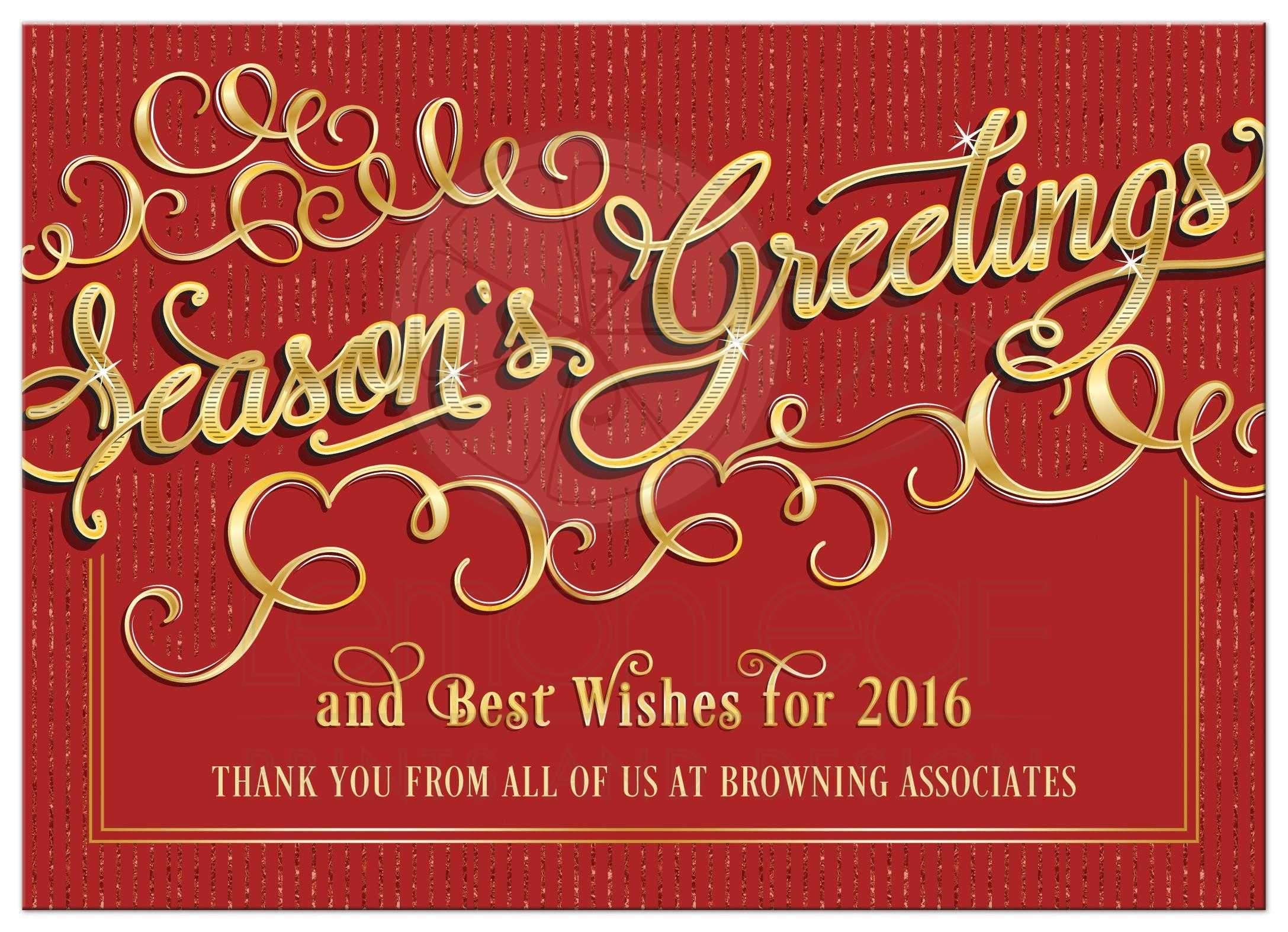 business holiday card  elegant season's greetings red