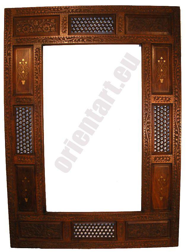 Orientalisch Massive Spiegel Holz Rahmen 107x76 Cm Messing
