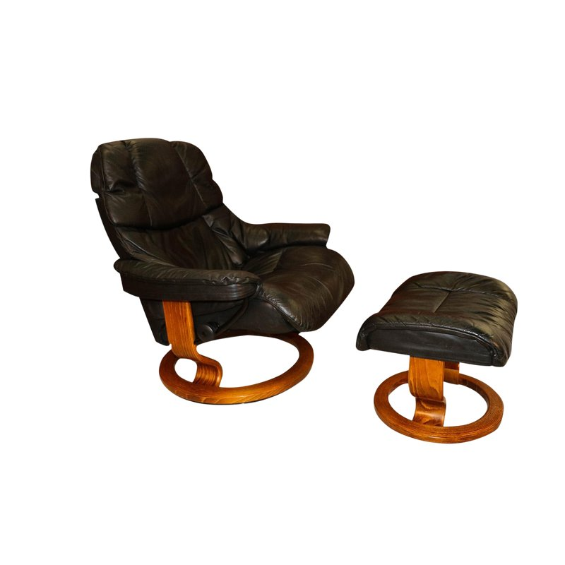 Outstanding Mid Century Scandinavian Modern Ekornes Stressless Recliner Caraccident5 Cool Chair Designs And Ideas Caraccident5Info