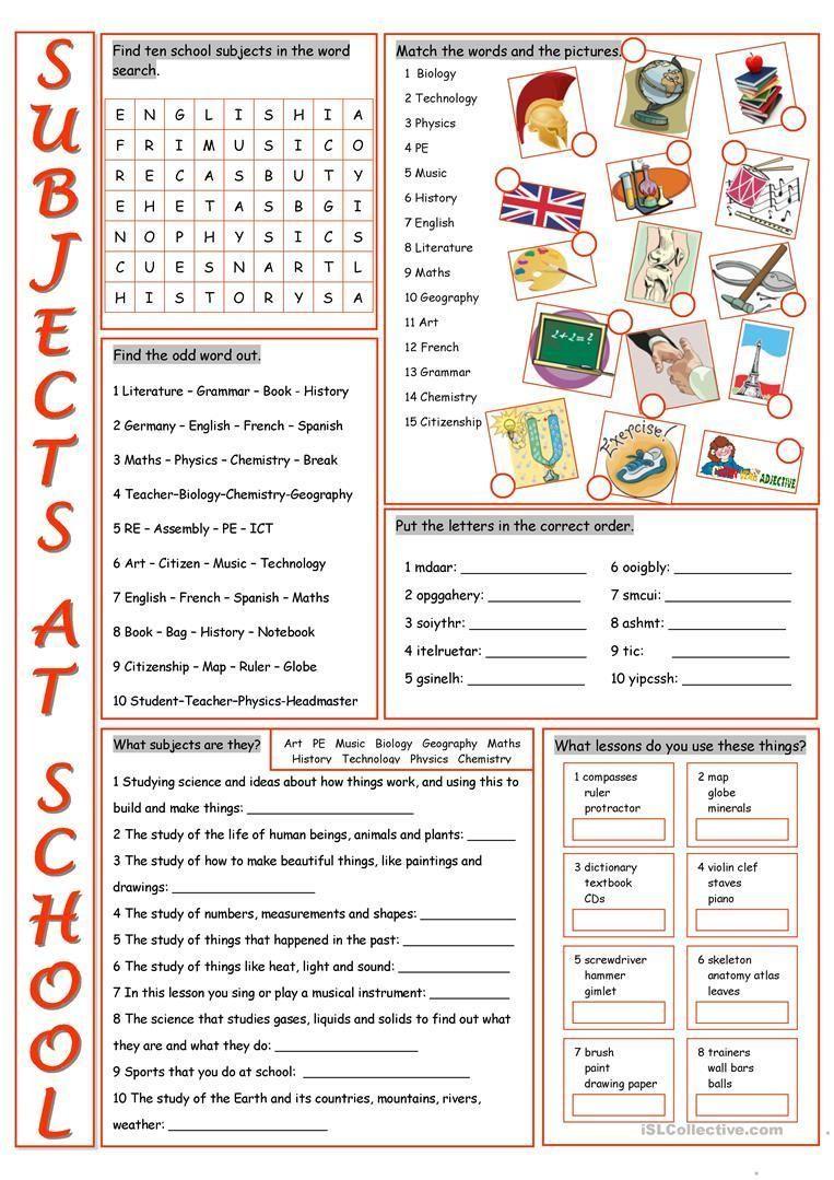 School Worksheets Worksheets About School Subjects 1 Worksheets About School Subjects Exercices De Vocabulaire Lecture En Anglais Vocabulaire [ 1079 x 763 Pixel ]