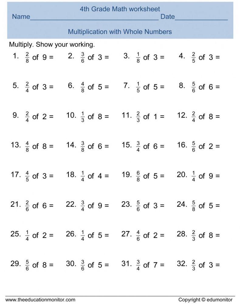 Printable Math Worksheets 4th Grade Fractions Di 2020