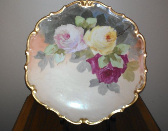 1890 Limoges LDCB Flambeau  Roses Charger Wall Plaque by CruChic,