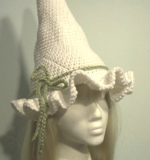 Ruffled brim crochet halloween witch hat - Many Colors available. $45.00, via Etsy.