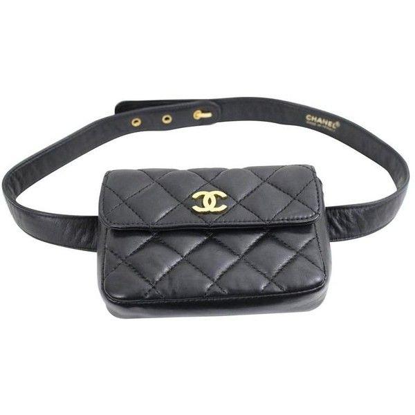c0a35b27b1f Vintage Chanel Belt Bag in Black Lambskin Leather ❤ liked on ...
