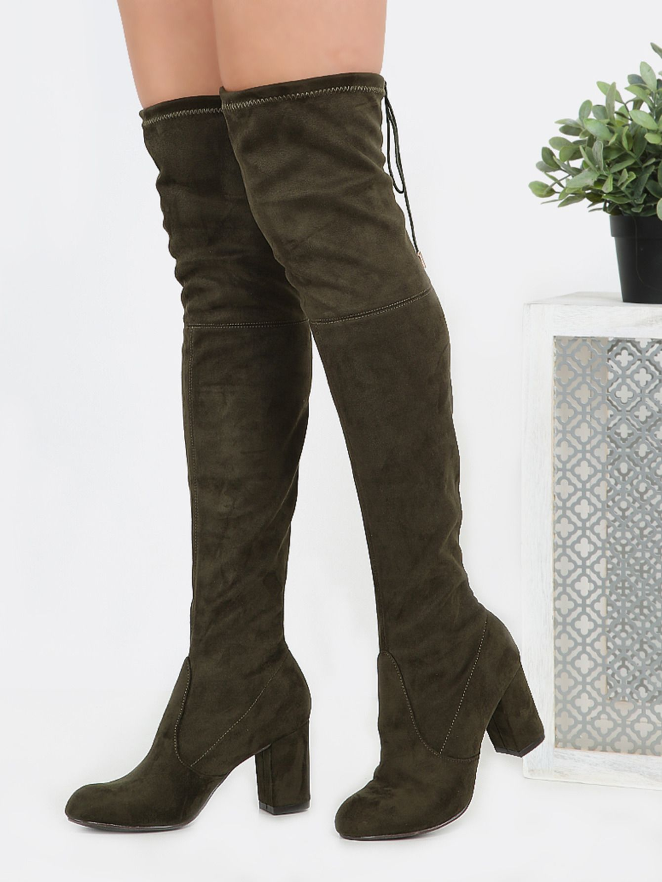 0c771bd08fa Online shopping for Drawstring Over the Knee Suede Boots OLIVE from a great  selection of women's fashion clothing & more at MakeMeChic.COM.