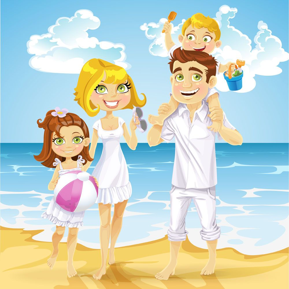 Семьи на море открытки