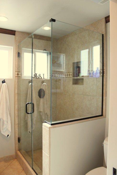 House Tour Half Wall Shower Bathroom Design Small