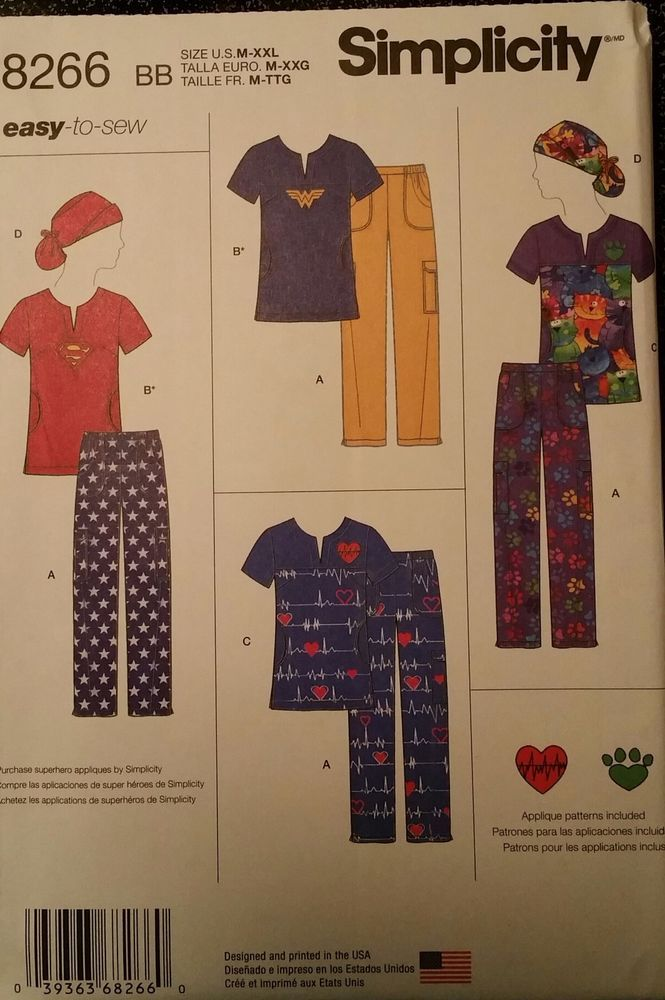 Simplicity Pattern 8266 Sizes 14 26 Women S Scrubs Tops Pants And