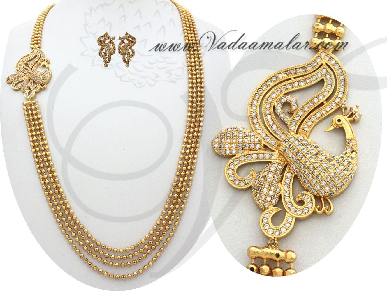 Peacock design side pendant step necklace chain mugappu for Sarees ...