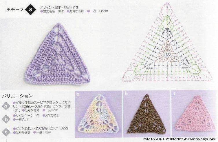 triángulos de crochet. | Crochet Esquemas