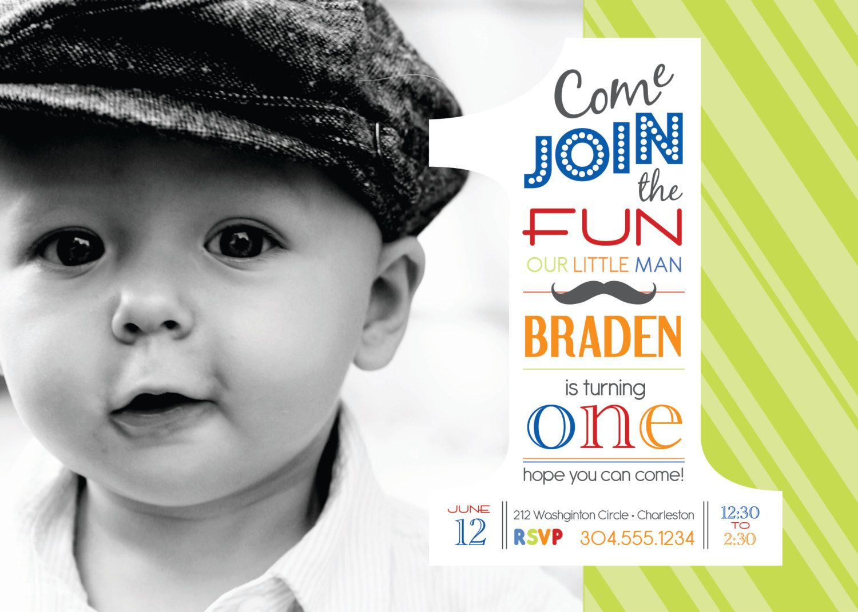 1st BIRTHDAY, boys MUSTACHE photo invitation - DIGITAL file ...