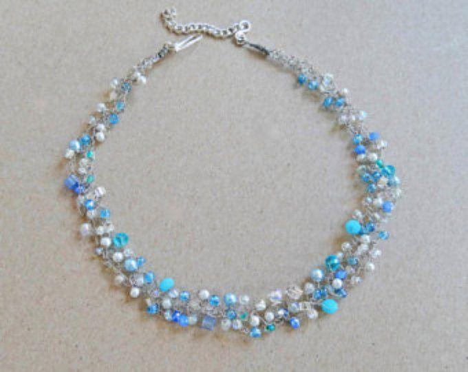 Einzigartige Draht Halsband. Blau und Spitzen häkeln Draht Halskette ...