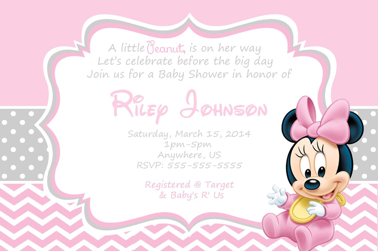 minnie mouse baby invitations minnie mouse baby shower invitations
