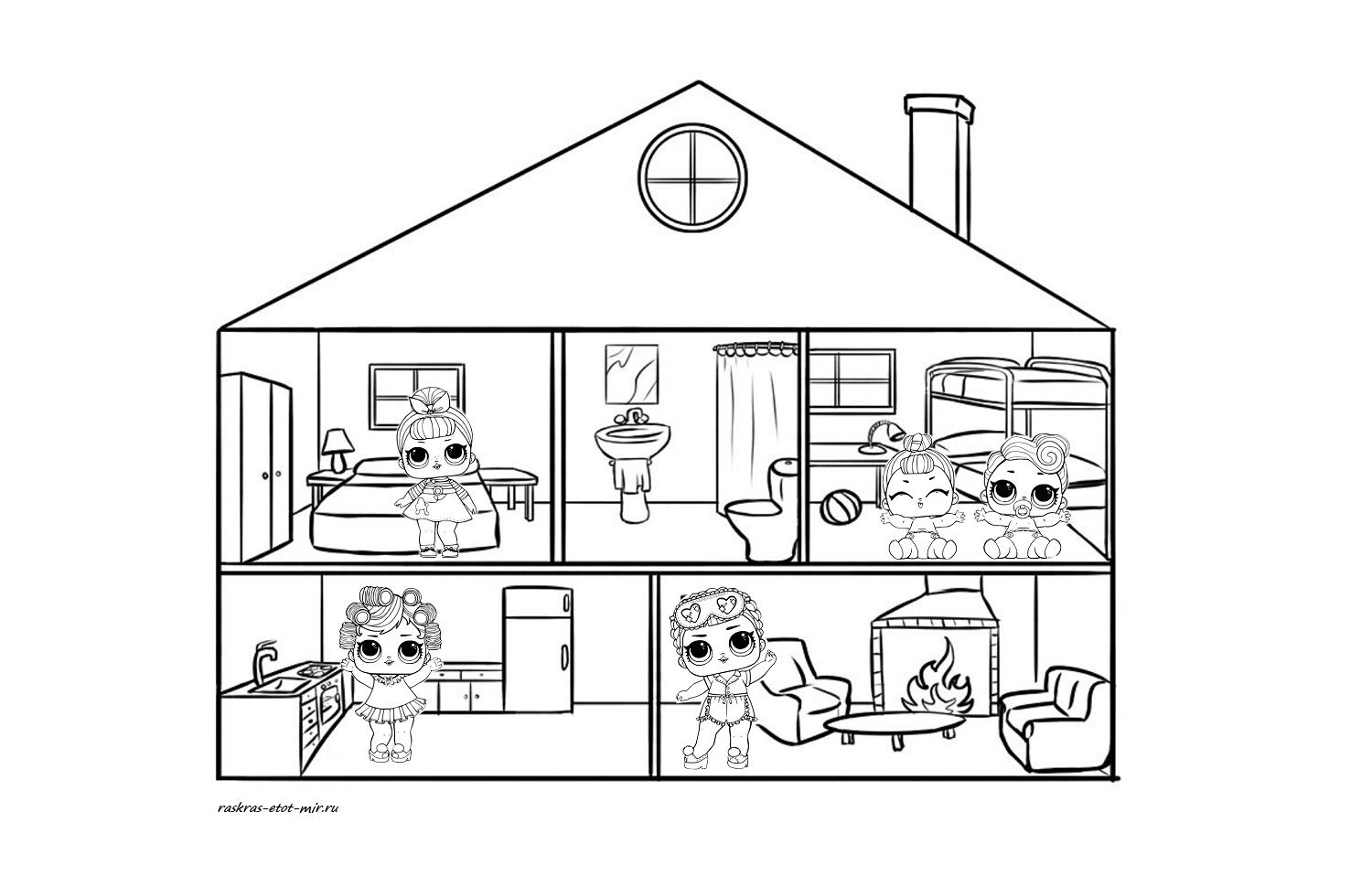 Printable Doll House Coloring Page Coloring Pages Cottage Home