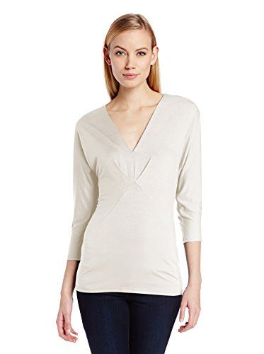Three Dots Red Women's Dolman Sleeve Deep V Top (White)
