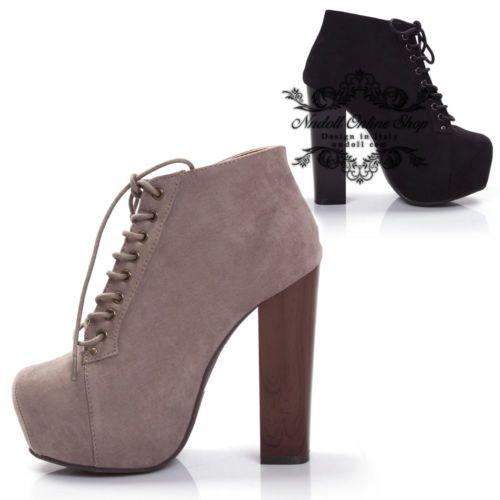 scarpe Decolte zeppa donna stivaletti tela Stivali tacco alto 13 cm nero  nero