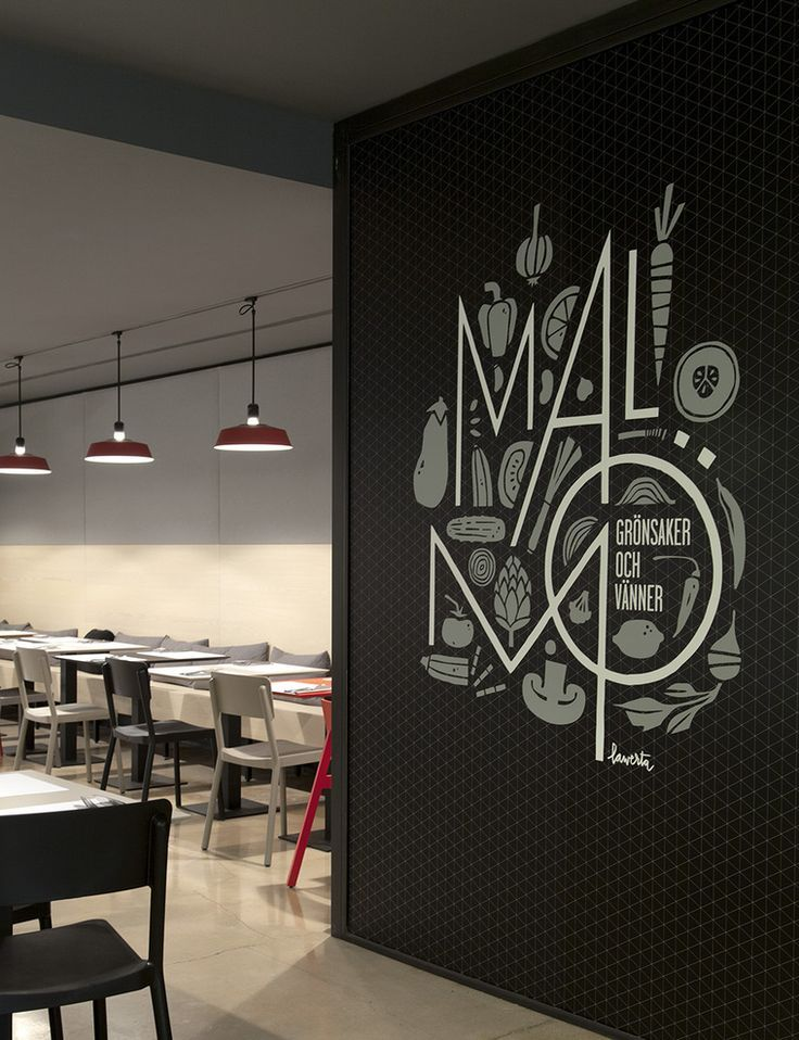 Wall graphics at Malm restaurant Sweden by Borja Garcia Studio