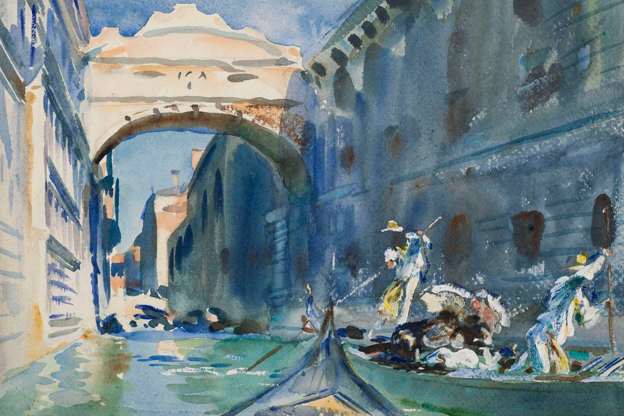 The Bridge of Sighs John Singer Sargent (American, 1856–1925) 1903–1904 Translucent and opaque watercolor with graphite and red pigmented underdrawing on moderately thick, rough, diagonal  textured  wove paper. *Purchased by Special Subscription. Courtesy of the Brooklyn Museum *Courtesy, Museum of Fine Arts, Boston