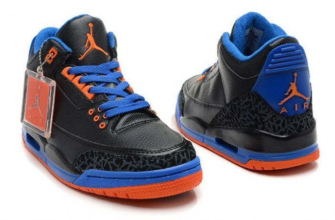 c3bc80fcd Nike Air Jordan 3 III Cement Mens Shoes Black Blue Orange
