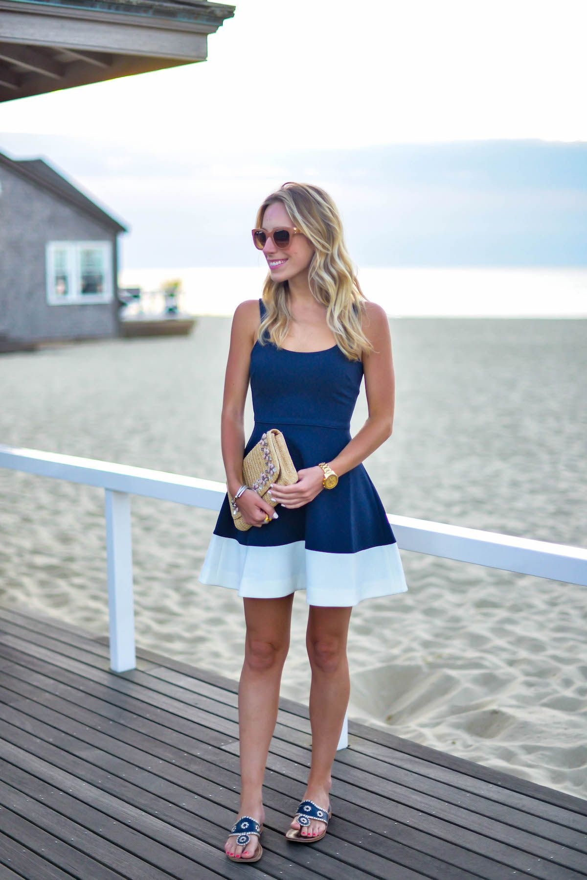 Summer Outfit Idea Navy White Fit Flare Dress Via Katiesbliss