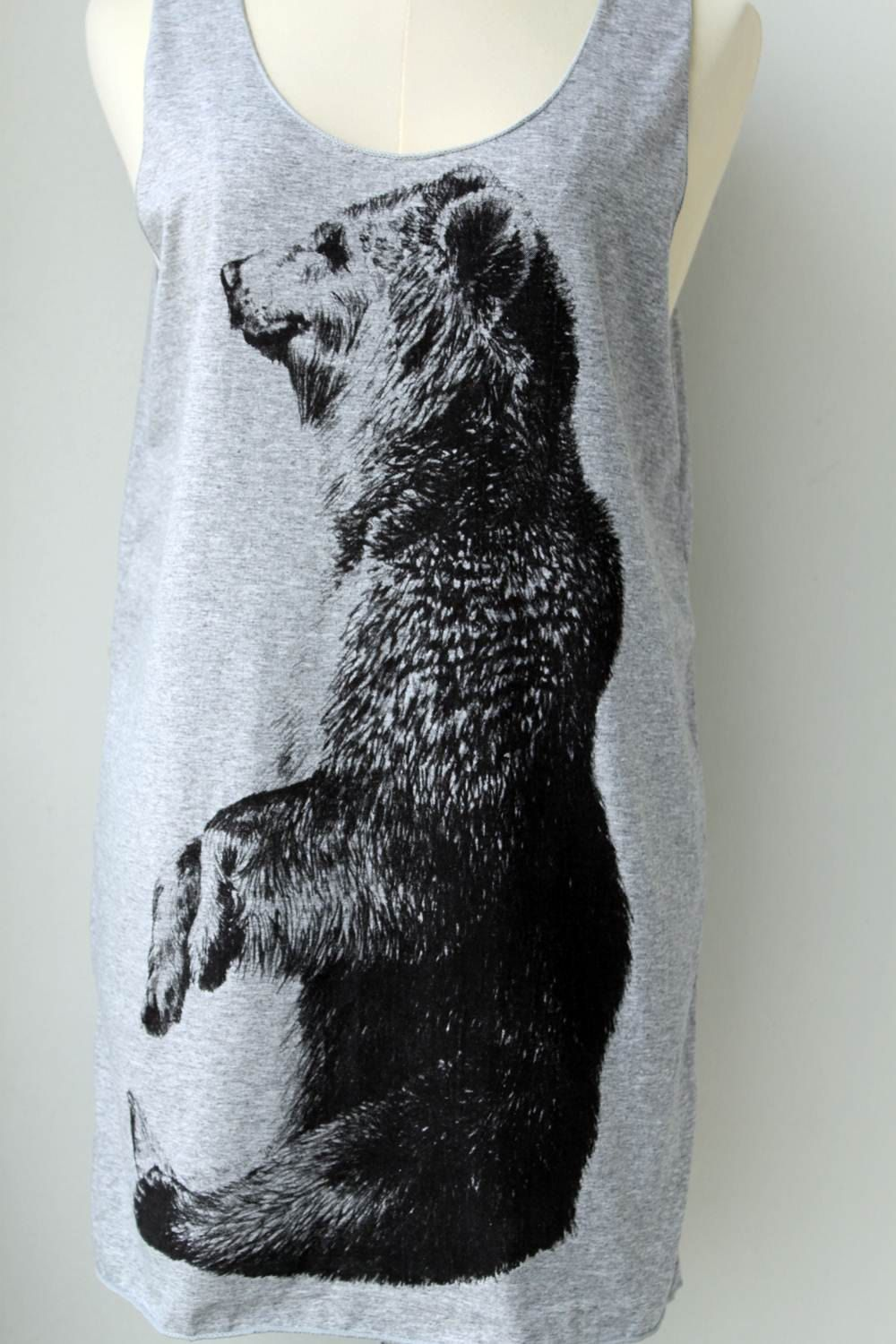 Grizzly bear wild animal gray tank top tunic shirt women men grizzly bear wild animal gray tank top tunic shirt women men 1599 via publicscrutiny Gallery
