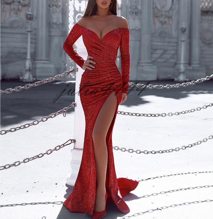 New Design 2K19 Sexy Red Prom Dresses Long Sleeves Mermaid Front Split for Sweetheart Party Evening Wear Gowns