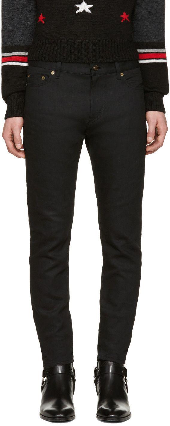 d9e22742a9e SAINT LAURENT Black Low Waisted Skinny Jeans. #saintlaurent #cloth #jeans