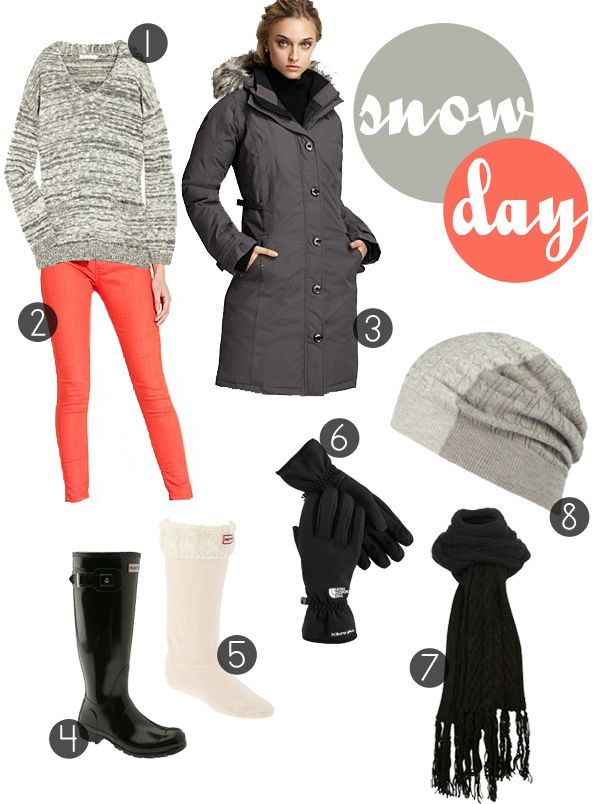 Snow day outfit // coral pants, grey sweater, hunters | My
