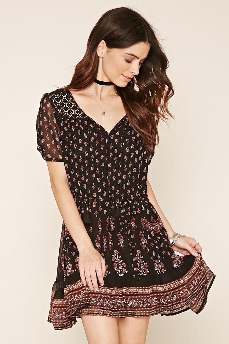 vestido floral paneles crochet mujer vestidos 2000220595 forever 21 eu espa ol. Black Bedroom Furniture Sets. Home Design Ideas
