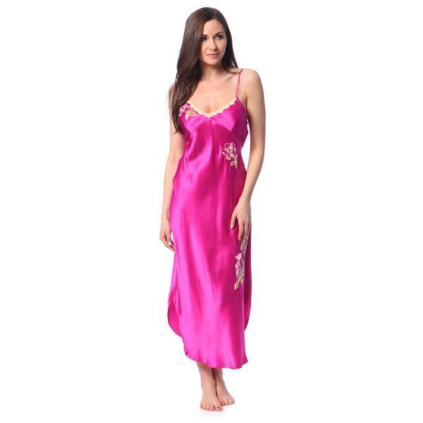 Silk Gowns For Women: Julianna Rae Women's 'Fuschia Memories' Silk Nightgown