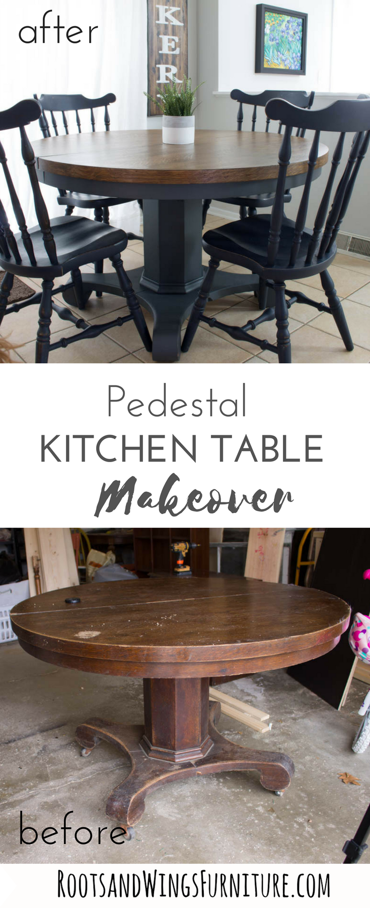 Pedestal Kitchen Table Makeover #kitchenfurniture