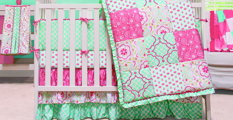 Crib Bedding Sets Mint Green Nursery, Pink And Mint Nursery Bedding