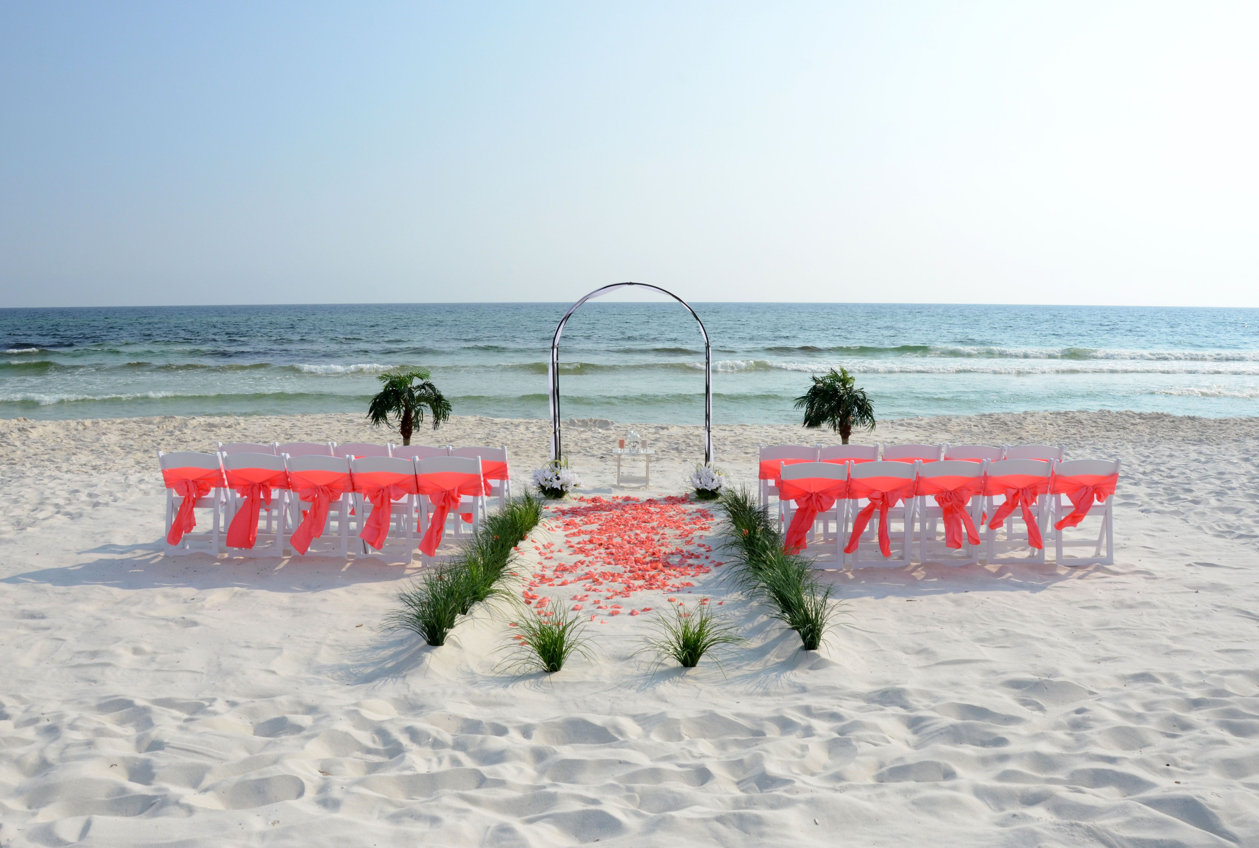 Simple arch accented with coral chair sashes and rose
