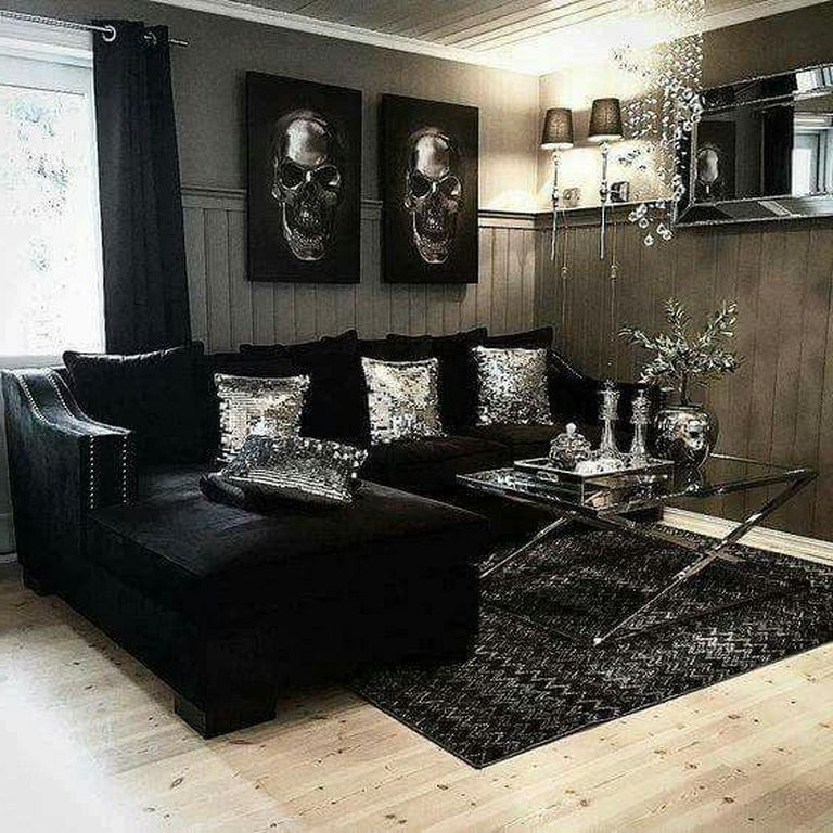25 Amazing Gothic Living Room Design And Decorating Ideas Livingroomideas Livingro Black Living Room Black Sofa Living Room Decor Black Furniture Living Room