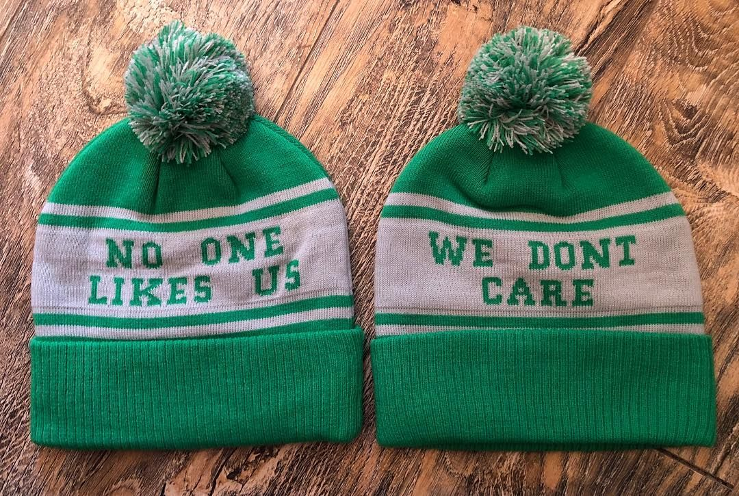 Eagles Scarf. No one likes us we don't care Pom pom hat