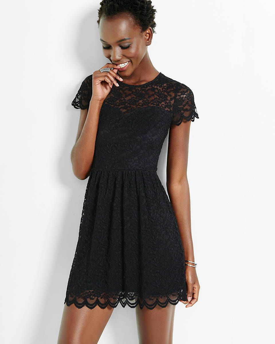 3988f62cf76 lace short sleeve fit   flare dress