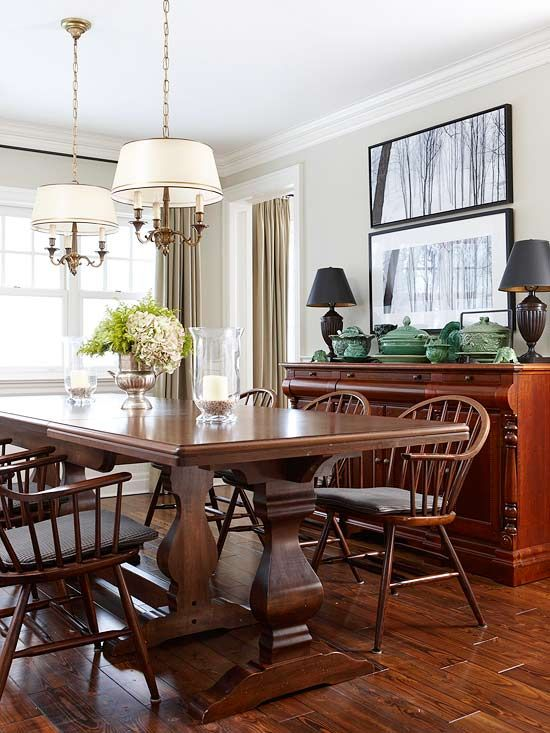 Clic Dining Room Table Sets With Long Oak And Old Fashioned Chars Under Chandeliers