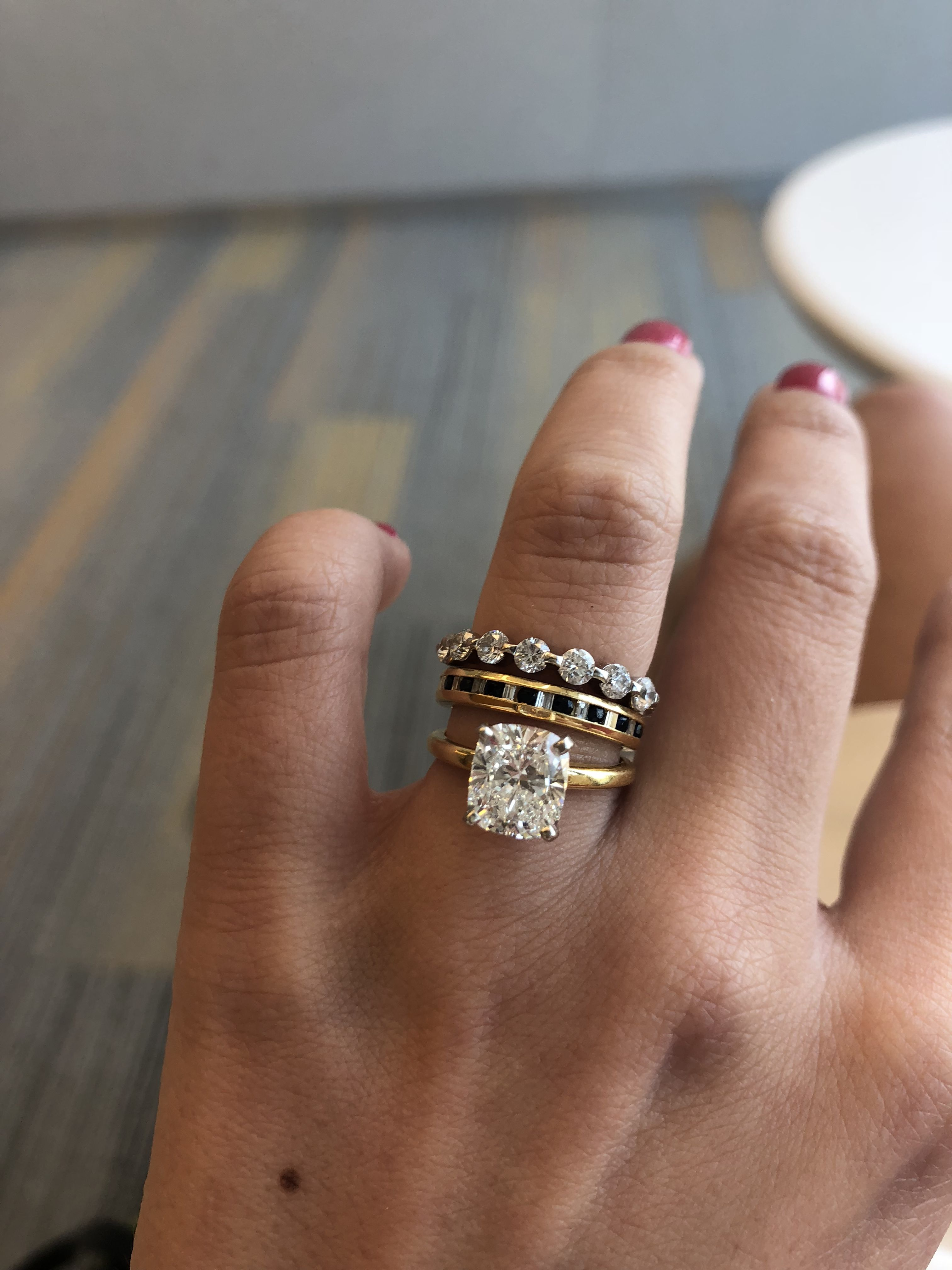 Ann iversary ring, wedding band  in double share prong set stackable gold ring diamond wedding gold ring