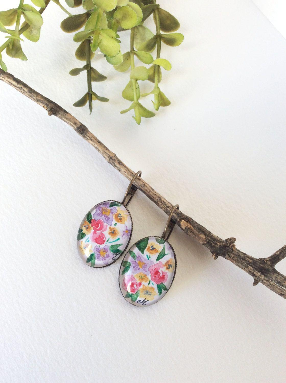 Handmade dangle earrings Leverback earrings Original floral watercolor painting…