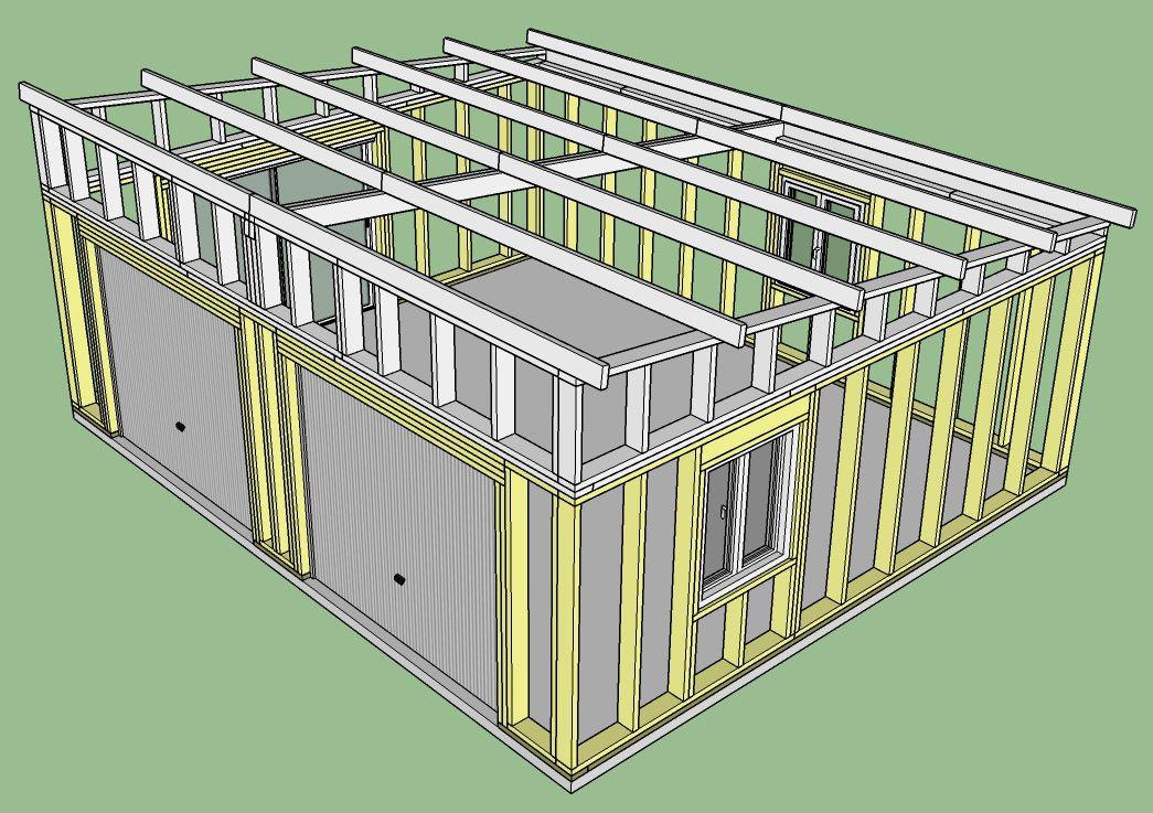 Fabrication D Un Double Garage Ossature Bois Copain Des Copeaux Construire Un Garage Garage Bois Plan Garage