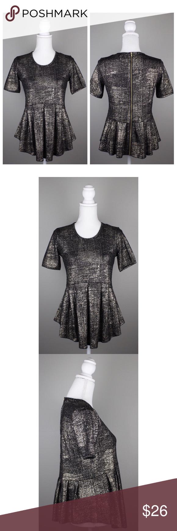 Eclair metallic short sleeve peplum dressy top my posh picks