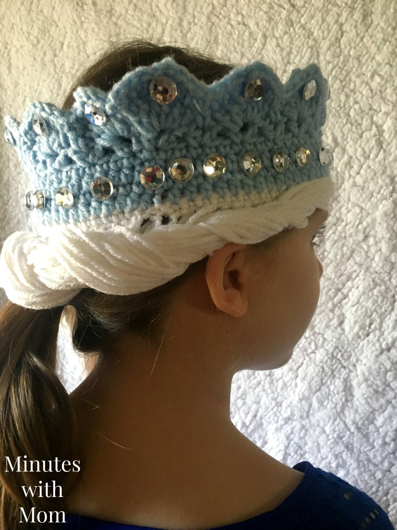 Make this Crochet Elsa Crown with Hair! Free Pattern Link Included ...