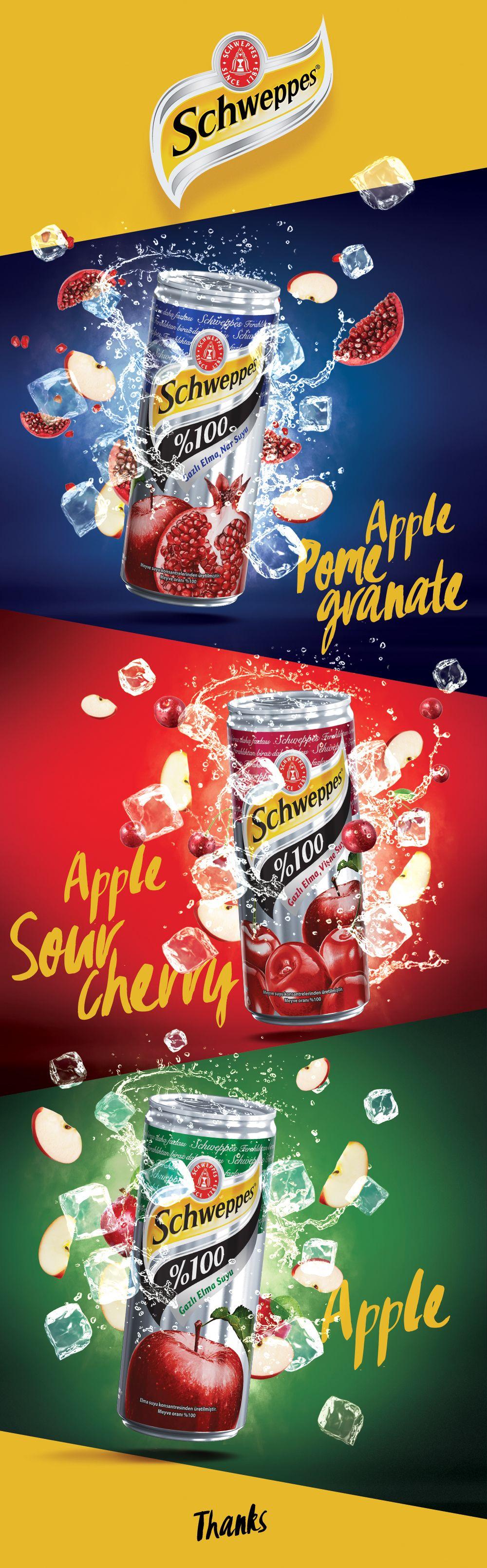 Schweppes Sparkling 100% Fruit Juice on Behance | Juice ...