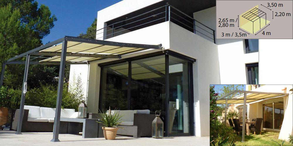tonnelle murale modulable en acier phoenix avec stores r glables oogarden les tonnelles de. Black Bedroom Furniture Sets. Home Design Ideas