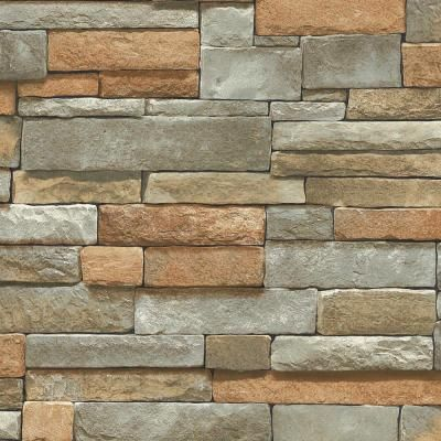 Home Depot Wall Stone the wallpaper company 8 in. x 10 in. multi color ledge stone